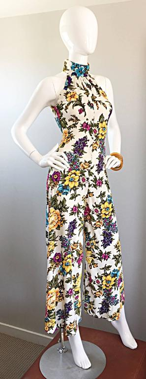 Amazing 1970s Wide Leg High Neck Flower Vintage 70s Cropped Jumpsuit Onesie 5