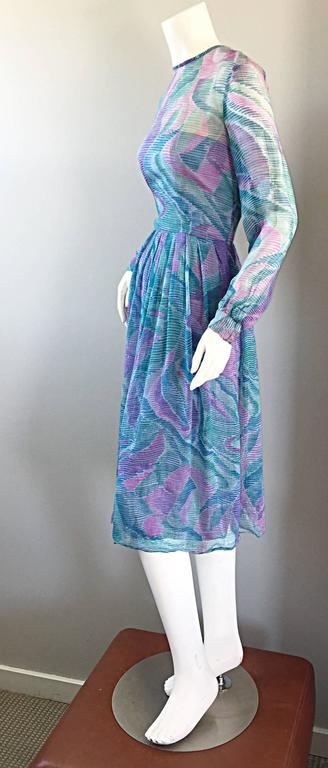 Women's Beautiful 1970s Richilene Silk Chiffon Watercolor Vintage 70s Long Sleeve Dress For Sale