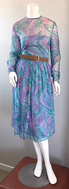 Beautiful 1970s Richilene Silk Chiffon Watercolor Vintage 70s Long Sleeve Dress For Sale 1