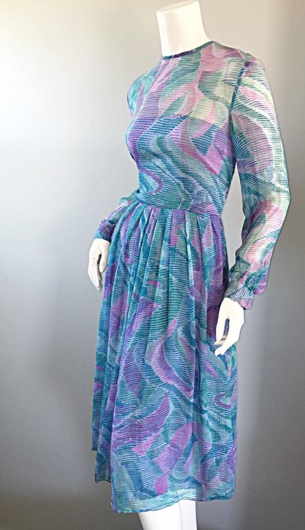 Beautiful 1970s Richilene Silk Chiffon Watercolor Vintage 70s Long Sleeve Dress In Excellent Condition For Sale In Chicago, IL