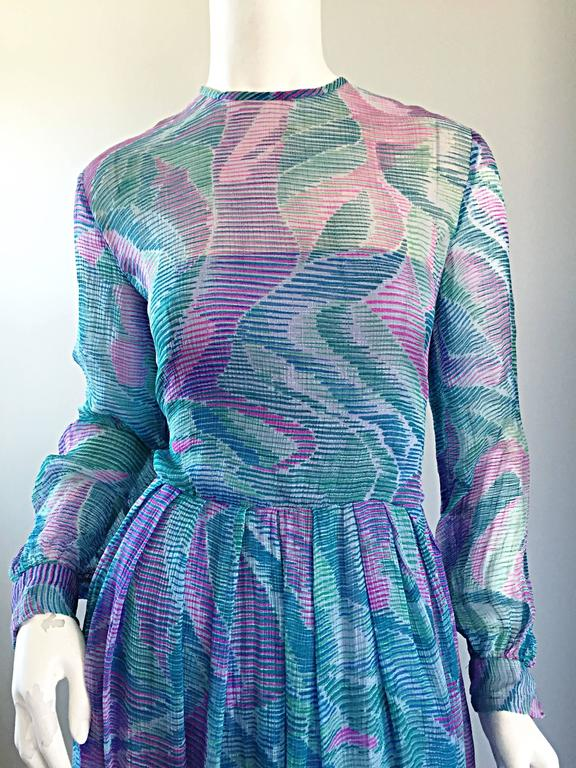 Blue Beautiful 1970s Richilene Silk Chiffon Watercolor Vintage 70s Long Sleeve Dress For Sale