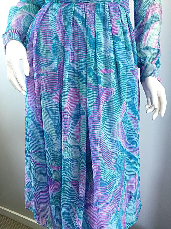 Beautiful 1970s Richilene Silk Chiffon Watercolor Vintage 70s Long Sleeve Dress For Sale 3