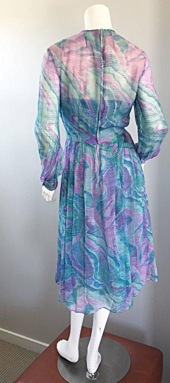 Beautiful 1970s Richilene Silk Chiffon Watercolor Vintage 70s Long Sleeve Dress For Sale 2