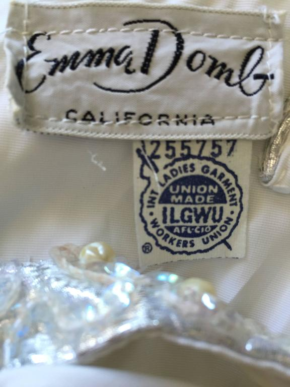 ee9bbb90f4c1 Ethereal Emma Domb 1960s White Chiffon Sequins + Pearls 60s Empire Waist  Gown For Sale 6