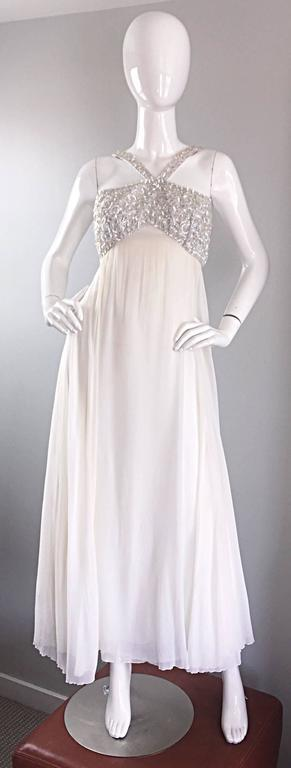 Ethereal Emma Domb 1960s White Chiffon Sequins + Pearls 60s Empire Waist Gown  For Sale 1