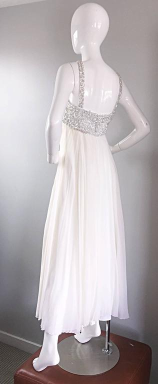 caa64639f279 Women's Ethereal Emma Domb 1960s White Chiffon Sequins + Pearls 60s Empire  Waist Gown For Sale