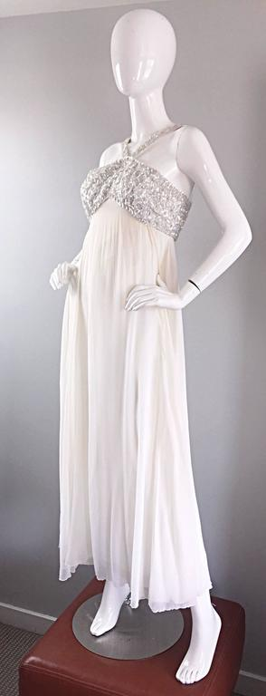 6ab29d6ef374 Ethereal Emma Domb 1960s White Chiffon Sequins + Pearls 60s Empire Waist  Gown For Sale 2