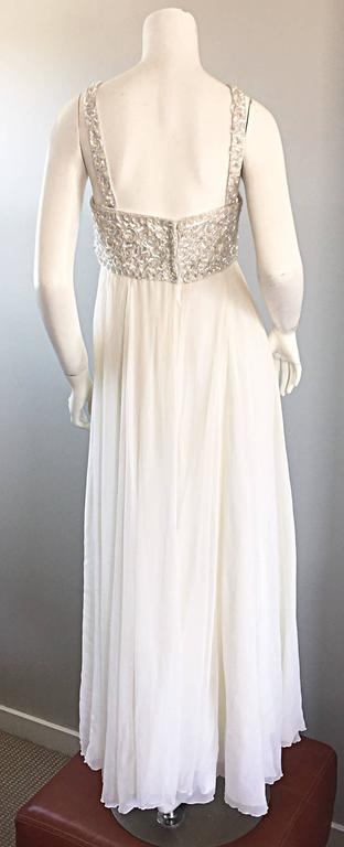 8ff54df81323 Ethereal Emma Domb 1960s White Chiffon Sequins + Pearls 60s Empire Waist  Gown For Sale 3