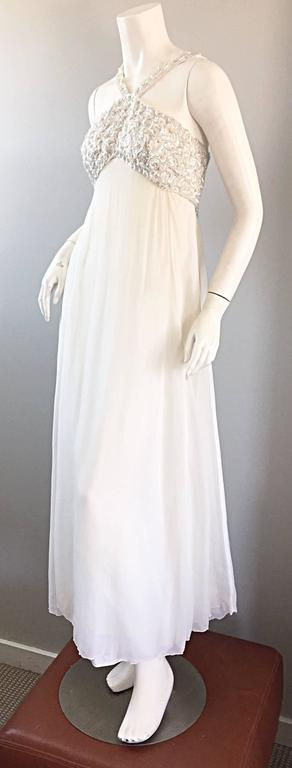 2769cd0f32ef Ethereal Emma Domb 1960s White Chiffon Sequins + Pearls 60s Empire Waist  Gown For Sale 5