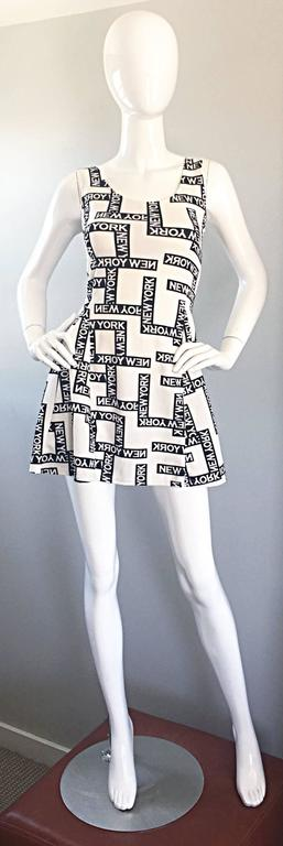 "Fiorella Rubino 1990s "" New York "" Black and White Vintage 90s Skater Mini Dress 9"