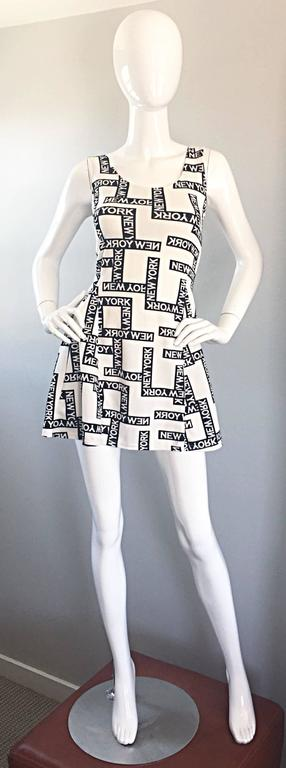 "Fiorella Rubino 1990s "" New York "" Black and White Vintage 90s Skater Mini Dress 2"