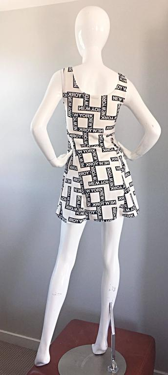 "Fiorella Rubino 1990s "" New York "" Black and White Vintage 90s Skater Mini Dress 5"