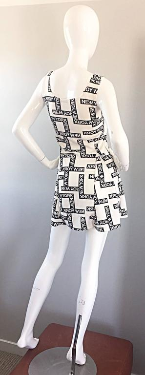 "Fiorella Rubino 1990s "" New York "" Black and White Vintage 90s Skater Mini Dress 7"