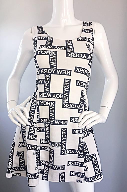 "Fiorella Rubino 1990s "" New York "" Black and White Vintage 90s Skater Mini Dress 3"