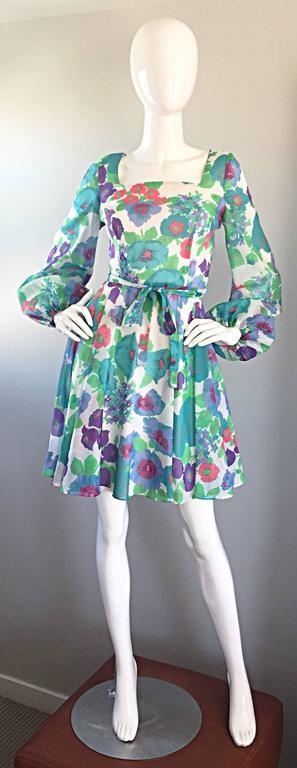 1960s Vintage Flower Printed Chiffon Blue, Purple, Green, Pink Babydoll Dress For Sale 6