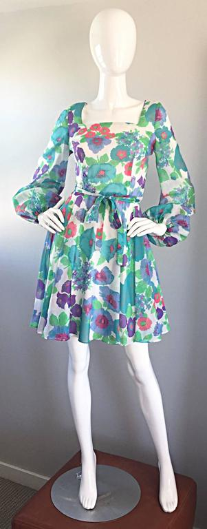 1960s Vintage Flower Printed Chiffon Blue Purple Green