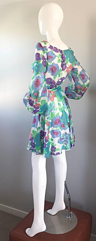 1960s Vintage Flower Printed Chiffon Blue, Purple, Green, Pink Babydoll Dress For Sale 2