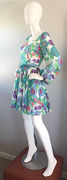 Women's 1960s Vintage Flower Printed Chiffon Blue, Purple, Green, Pink Babydoll Dress For Sale