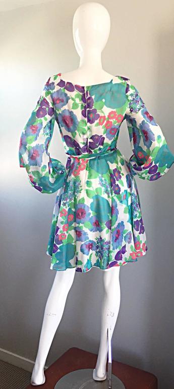 1960s Vintage Flower Printed Chiffon Blue, Purple, Green, Pink Babydoll Dress For Sale 1