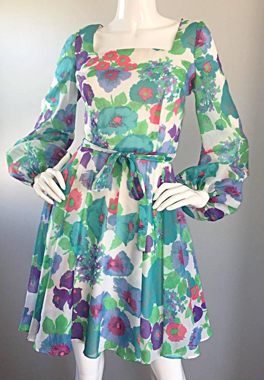 1960s Vintage Flower Printed Chiffon Blue, Purple, Green, Pink Babydoll Dress In Excellent Condition For Sale In Chicago, IL
