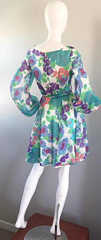 1960s Vintage Flower Printed Chiffon Blue, Purple, Green, Pink Babydoll Dress For Sale 5