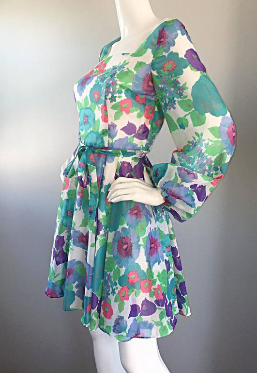 1960s Vintage Flower Printed Chiffon Blue, Purple, Green, Pink Babydoll Dress For Sale 3