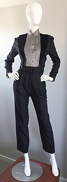 Incredible and rare vintage ALBERTA FERRETTI charcoal gray jumpsuit, from one of Ferretti's first collections! Lightweight soft gray wool, with an attached light gray silk tuxedo shirt. Wonderful flattering fit, with art eye to the tailoring! Wide