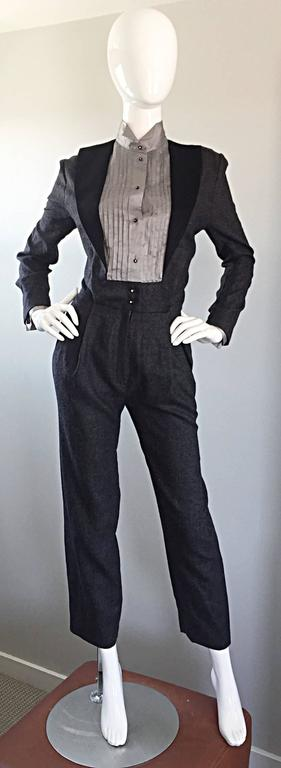 Alberta Ferretti Early Vintage Charcoal Gray Vintage Tuxedo Jumpsuit Onesie For Sale 5