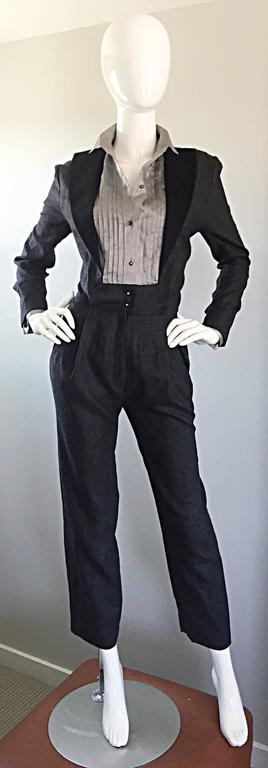 Alberta Ferretti Early Vintage Charcoal Gray Vintage Tuxedo Jumpsuit Onesie In Excellent Condition For Sale In San Francisco, CA