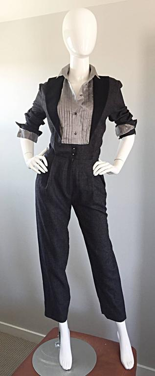Alberta Ferretti Early Vintage Charcoal Gray Vintage Tuxedo Jumpsuit Onesie For Sale 2