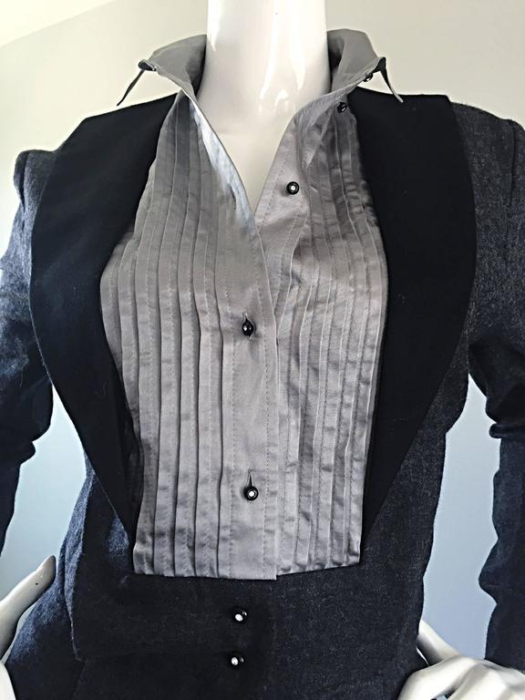 Rare Early Vintage Alberta Ferretti Charcoal Gray Vintage Tuxedo Jumpsuit Onesie 4