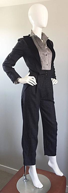 Rare Early Vintage Alberta Ferretti Charcoal Gray Vintage Tuxedo Jumpsuit Onesie 7