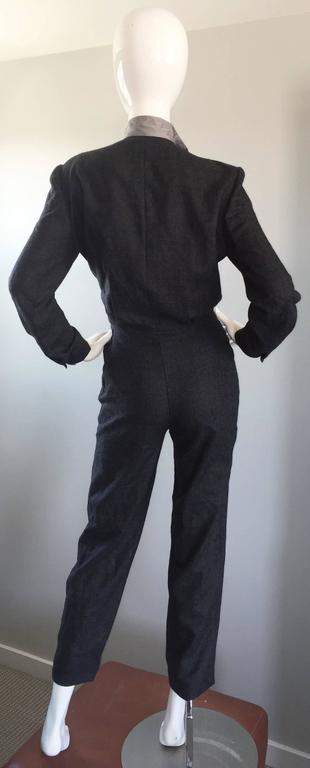 Rare Early Vintage Alberta Ferretti Charcoal Gray Vintage Tuxedo Jumpsuit Onesie 5