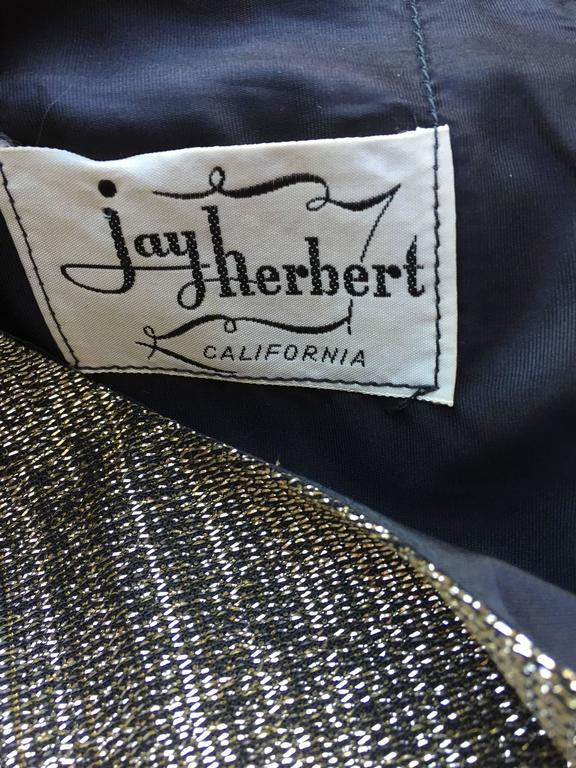 Amazing 1960s Jay Herbert Gold Silk Lurex Mink Vintage Sleveless Cocktail Dress For Sale 5