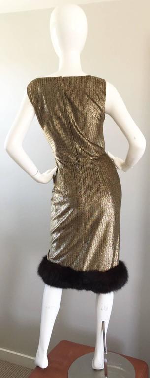 Women's Amazing 1960s Jay Herbert Gold Silk Lurex Mink Vintage Sleveless Cocktail Dress For Sale