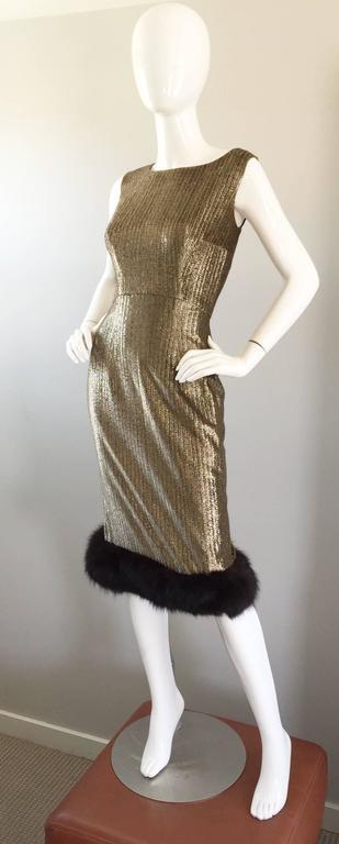 Amazing 1960s Jay Herbert Gold Silk Lurex Mink Vintage Sleveless Cocktail Dress For Sale 2