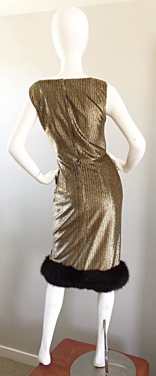 Amazing 1960s Jay Herbert Gold Silk Lurex Mink Vintage Sleveless Cocktail Dress For Sale 3