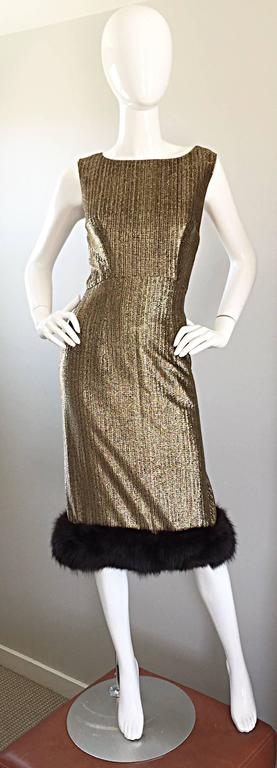 Amazing 60s JAY HERBERT gold and black silk lurex cocktail dress, with mink fur trim! Flattering shape hugs the body in all the right places, and really accentuates the curves of the body! Fully lined, with a full metal zipper up the back and