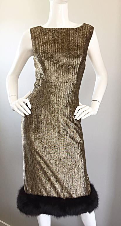 Amazing 1960s Jay Herbert Gold Silk Lurex Mink Vintage Sleveless Cocktail Dress In Excellent Condition For Sale In Chicago, IL