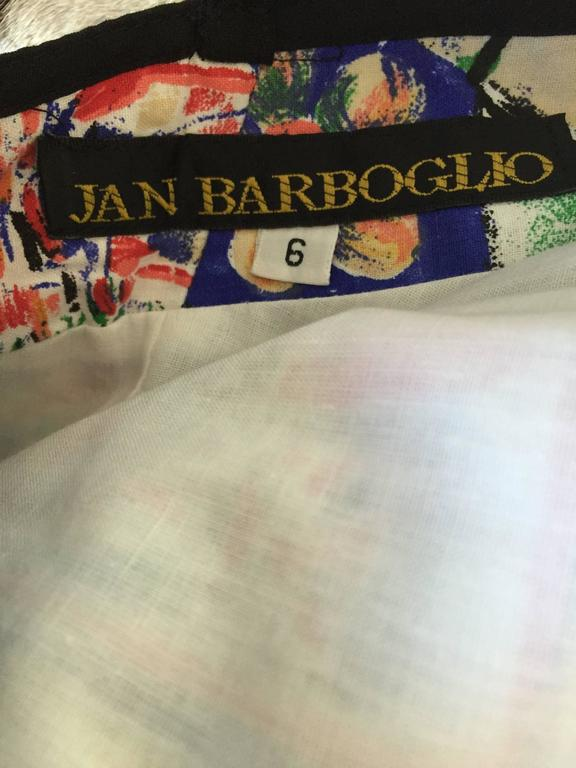 1990s Jan Barboglio Hand Painted Watercolor Vintage Cotton Novelty Dress For Sale 5