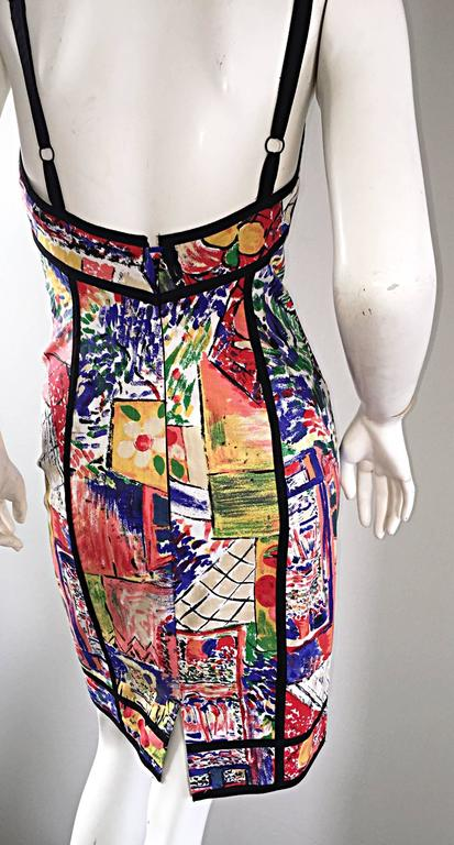 1990s Jan Barboglio Hand Painted Watercolor Vintage Cotton Novelty Dress 3