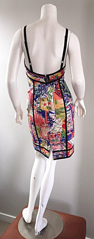 1990s Jan Barboglio Hand Painted Watercolor Vintage Cotton Novelty Dress In Excellent Condition For Sale In San Francisco, CA