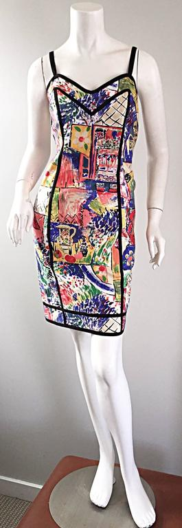 1990s Jan Barboglio Hand Painted Watercolor Vintage Cotton Novelty Dress 2