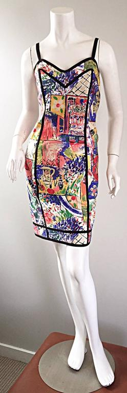 1990s Jan Barboglio Hand Painted Watercolor Vintage Cotton Novelty Dress For Sale 4
