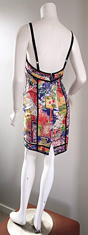 1990s Jan Barboglio Hand Painted Watercolor Vintage Cotton Novelty Dress For Sale 2