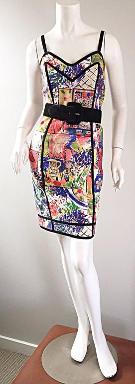1990s Jan Barboglio Hand Painted Watercolor Vintage Cotton Novelty Dress 5