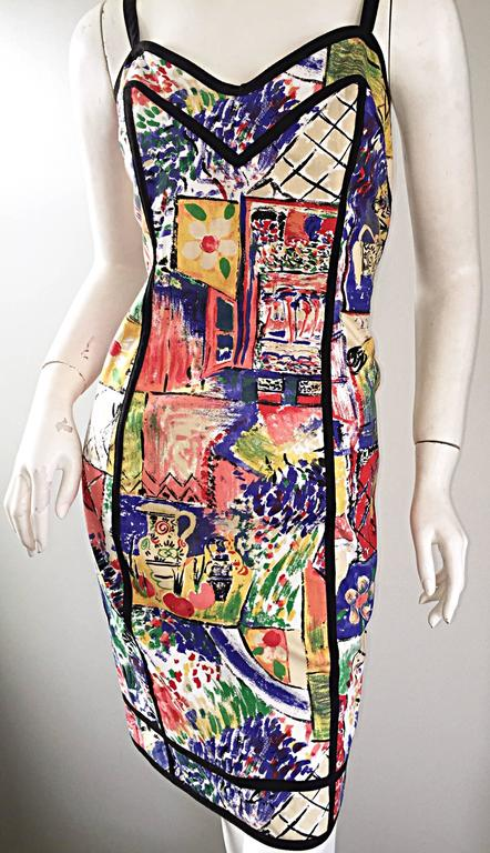 1990s Jan Barboglio Hand Painted Watercolor Vintage Cotton Novelty Dress For Sale 1