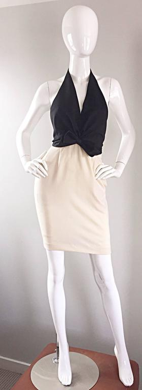 Sexy vintage 1990s / 90s BILL BLASS black and ivory halter dress! Flattering black silk halter top with an asymmetrical bow at the waist. Lightweight ivory wool skirt. I cannot even begin to describe how amazing this dress is in person, and on! Open
