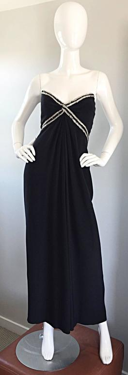 Gorgeous Vintage Bob Mackie for Amen Wardy Black Jersey Rhinestone Grecian Gown For Sale 4
