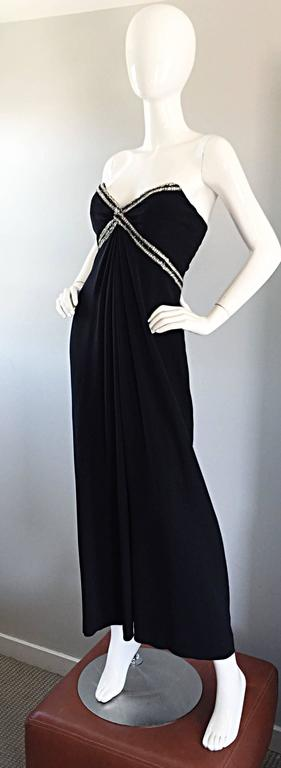Gorgeous Vintage Bob Mackie for Amen Wardy Black Jersey Rhinestone Grecian Gown For Sale 2